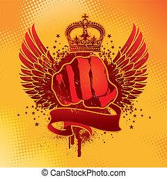 ritterwappen, grunge, vektor, geflügelt, emblem, mit, faust