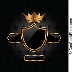 ritterwappen, krone, schutzschirm, aufwendig