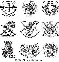 ritterwappen, satz, embleme