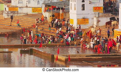 ritual bathing in holy lake - Pushkar India