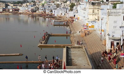 ritual bathing in holy lake Pushkar India - timelapse