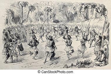 Ritual dance - Antique illustration of ritual dance of...
