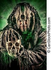 ritual - Ancient shaman warrior. Ethnic costume. Paganism,...