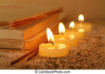 Rituals - Esoteric atmosphere created with candles, old...