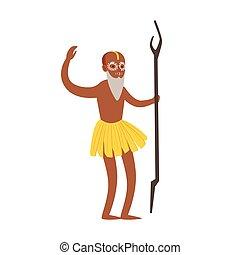 rituel, indien, exécuter, caractère, illustration, vecteur, ...