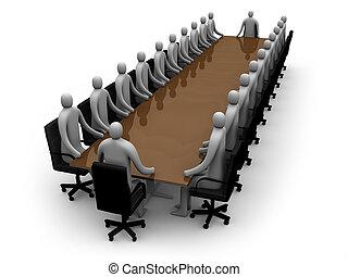 riunione, affari, -