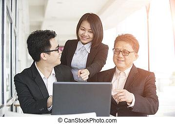 riunione, affari asiatici, squadra