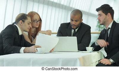 riunione affari, con, colleghi