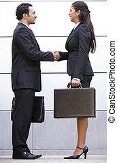 riunione affari, esterno, ufficio