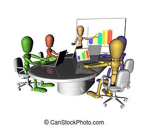 riunione affari, persone, presentazione