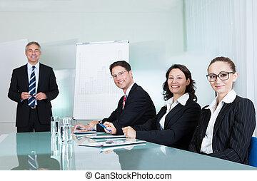 riunione, affari, presa a terra, squadra