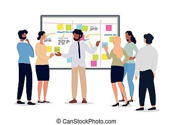 riunione affari, squadra, o, presa a terra, condottiero