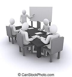 riunione affari, uomo, chi, mostra, presentazione