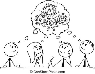 riunione, brainstorming, cartone animato, squadra affari