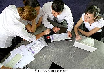 riunione, businesspeople, detenere