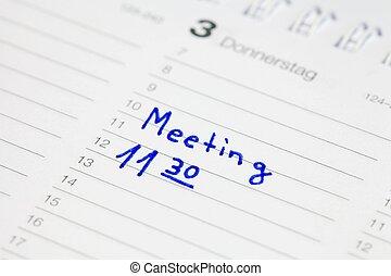riunione, calendario