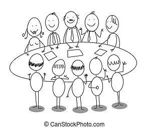 riunione, cartone animato, ufficio