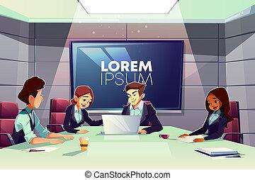 riunione conferenza, stanza, squadra affari