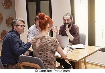 riunione, di, persone affari, ufficio, interno
