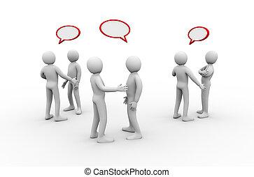 riunione, discussione, 3d, gruppo, persone