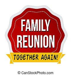 riunione famiglia, etichetta, o, adesivo