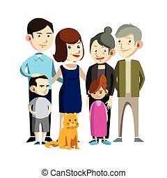 riunione famiglia, illustrazione, disegno