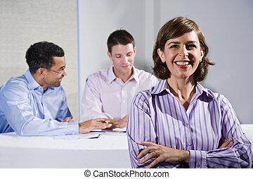 riunione, femmina, metà-adulto, lavoratore, ufficio