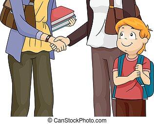 riunione, insegnante, genitore