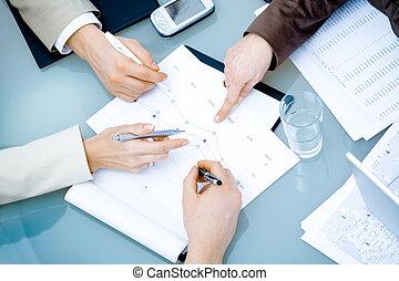riunione, mani affari