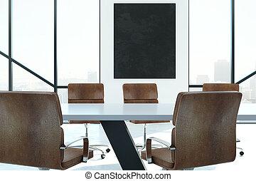 riunione, moderno, bandiera, stanza