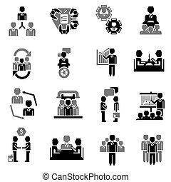 riunione, nero, icona