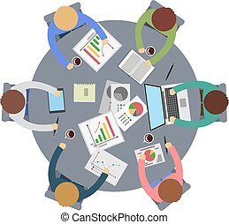riunione, tavola., rotondo, ufficio