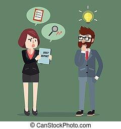 riunione uomo, idea, affari, prendere