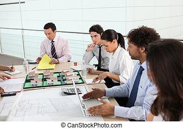 riunione, vendite, squadra