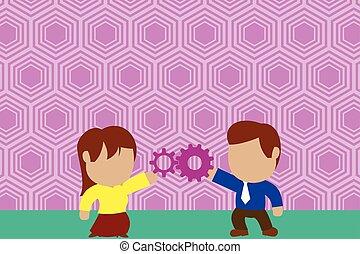 riuscito, commercio, donna, condivisione, scopo, lavorativo, gear., coppia, ciascuno, giovane, detenere, persone, altro, connettere, concept., innovazione, cravatta, squadra, relationship., uomo