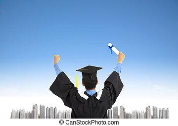 riuscito, laureandosi, studente, con, cielo, fondo