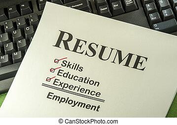 riuscito, occupazione, concetto, con, riprendere, lista