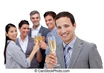 riuscito, squadra affari, tostare, con, champagne