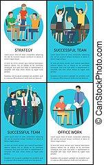 riuscito, squadra, vettore, illustrazione, strategia