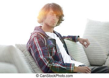 riuscito, tipo, bello, couch., seduta