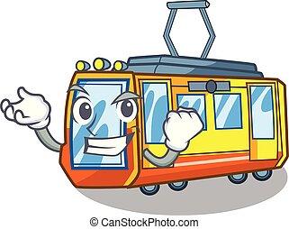 riuscito, treno elettrico, isolato, con, il, cartone animato