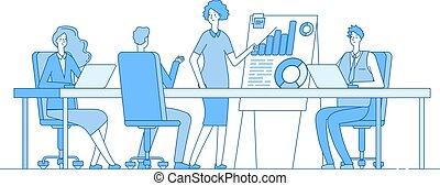 riuscito, ufficio, concept., affari, vettore, persone, team., donna d'affari, lavoro squadra, conference., fondo, riunione, presentazione