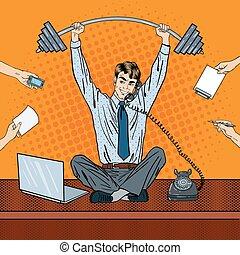 riuscito, ufficio, work., vettore, tasking, pop, illustrazione, arte, multi, uomo affari
