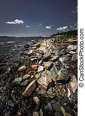 riva, baia, georgiano, roccioso