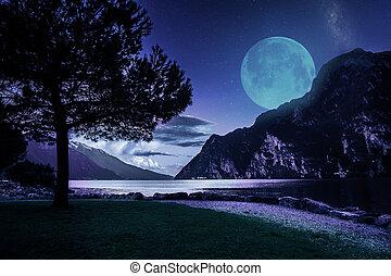 Riva del Garda town and Garda lake by night, Italy