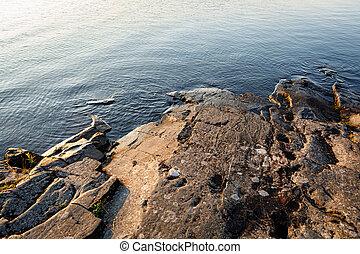 riva, liscio, lago, alba, roccia