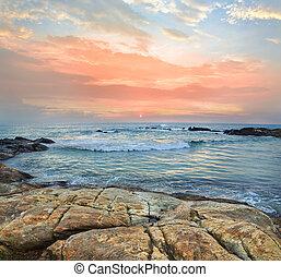 riva, oceano tramonto