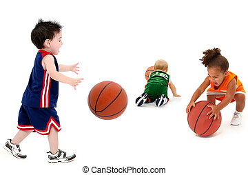 rivaal, toddler, teams, met, basketbal, in, uniform
