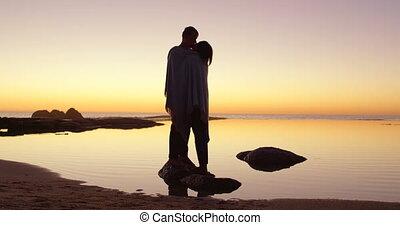 rivage, baisers, rocheux, autre, 4k, couple, romantique,...