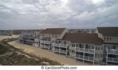 rivage, bord mer, océan, nj, hauteurs, baie, résidentiel, ...